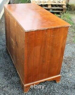 1900's Mahogany Square Front Chest Drawers on Bracket feet
