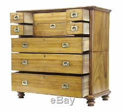 19th Century Camphor Campaign Military Split Chest Of Drawers Desk