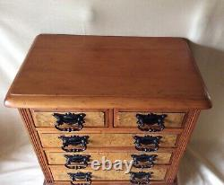 19th Century Mahogany Miniature Table/Desk Top Chest Of Drawers/Cabinet