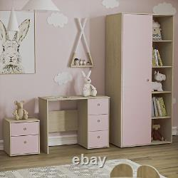 2 Drawer Chest Bedsdie Table Computer Desk Wardrobe Double Rail Set Kids Pink