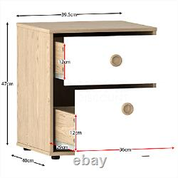 2 Drawer Chest of Drawers Bedside Table Wardrobe Computer Dressing Desk White