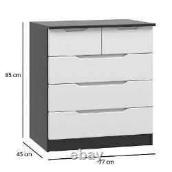 3/45/6 Door Wardrobes with Drawers High Gloss White & Black Assembled in UK