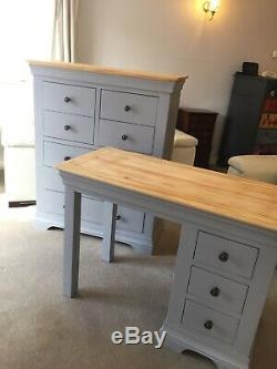 7 Draw Chest Of Drawers And Dressing Table/desk, Solid Wood Painted