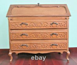 ANTIQUE LOUIS XV FRENCH SOLID OAK CARVED BUREAU WRITING DESK CHEST Of 3 DRAWERS