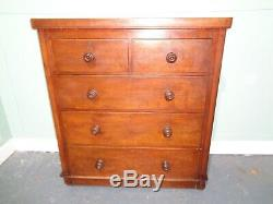 ANTIQUE VICTORIAN SCOTCH CHEST OF 2 OVER 3 DRAWERS c1880-1900 CHEST OF DRAWS