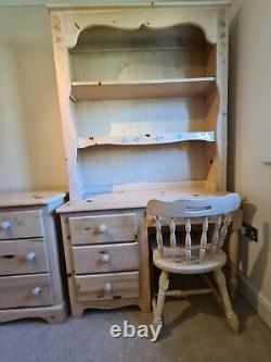American Solid Pine Chest of Drawers With Desk, Chair and Overhead Shelving