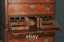 Antique English Georgian Oak Chest on Chest of Drawers Secretaire Writing Desk