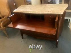 Antique Mahogany French Commode Writing Desk Top Drawer