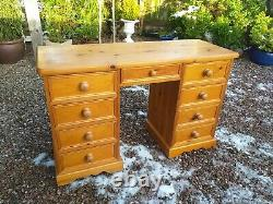 Antique Pine Heavyweight Office Computer Desk Dressing Table Chest of Drawers
