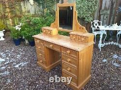 Antique Pine Solid Dressing Table / Pedestal Desk Drawers Chest Cabinet Mirror