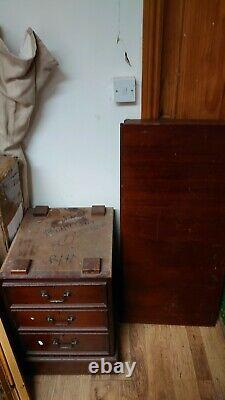 Antique Single Pedestal Desk chest of 3 drawers with locks