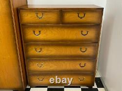 Antique campaign style 4pc bedroom suite chest of drawers bedside wardrobe desk
