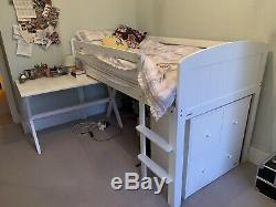 Aspace White Wooden Salcombe mid sleeper childrens bed, desk & chest of drawers