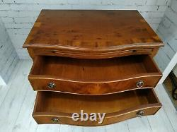 Bachelors Chest of Drawers Bow Front Antique Style Yew Pull Out Writing Desk Top