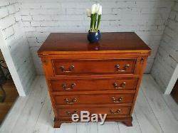Bachelors Chest of Drawers Georgian Antique Style Yew Wood Hinged Writing Desk