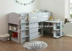 Balmoral Grey Mid Sleeper Solid Wood With Pull Out Desk 3 Drawer Chest Storage