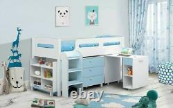 Balmoral White&Blue Mid Sleeper Solid Wood & Pull Out Desk 3Drawer Chest Storage