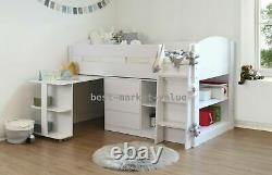 Balmoral White Mid Sleeper Solid Wood With Pull Out Desk 3 Drawer Chest Storage