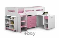 Balmoral White&Pink Mid Sleeper Solid Wood & Pull Out Desk 3Drawer Chest Storage
