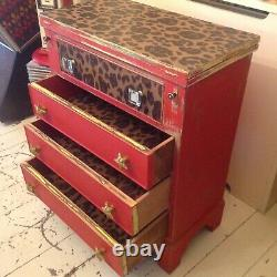 Batchelors Chest Of Drawers Hinged Writing Desk Painted Decoupaged Red / Leopard