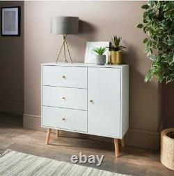 Bjorn Sideboard Chest Of 3 Drawers and 1 door White Table Desk Top Furniture NEW