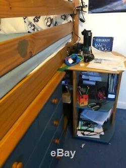 Blue Verona Kids Mid Sleeper Bed, bookcase, chest of drawers, pull out desk