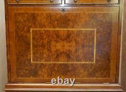 Brights Of Nettlebed Burr Walnut Bureau With Drop Front Desk & Chest Of Drawers