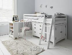 Cabin Bed Midsleeper Sleepstation with Chest of Drawers, Cabinet, Desk Kids