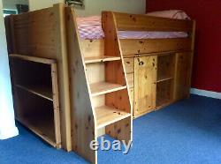 Cabin Bed solid Pine Mid Sleeper cabin bed. Inc Bookcase, 3drawer Chest & Desk