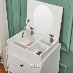 Chest of Drawers Dressing Table 2 in 1 with Mirror Stool, Drawer Make up Desk NEW