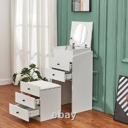 Chest of Drawers Dressing Table 2 in 1 with Mirror Stool& Drawer Make up Desk UK