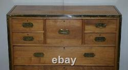 Circa 1880 Solid Oak & Brass Military Campaign Chest Of Drawers Secrataire Desk