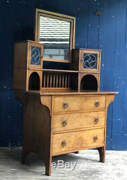 Edwardian Dressing Table Chest Of Drawers Mirror & Cupboard Elm Oak DELIVERY