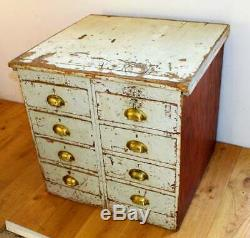Eight draw cabinet box desk chest of drawer industrial antique vintage wooden