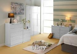 Fully Assembled Gents Wardrobe Robe Drawers & Mirrors Handless White High Gloss