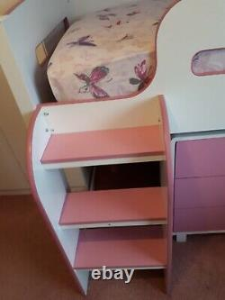 Girls Mid Sleeper Cabin Bed + Chest Of Drawers, Pull Out Desk and Shelf Unit VGC