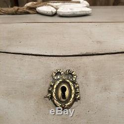 Gustavian Country Style Grey Hand Painted Vintage Bureau Desk / Chest of Drawers