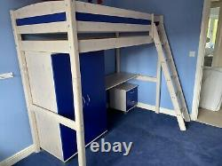 High sleeper with wardrobe, desk, desk drawers/ bedside table & chest of drawers
