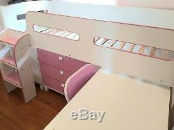 Julian Bowen KIMBO Cabin Bed- Pink & White with Desk/Bookcase/Draw Chest