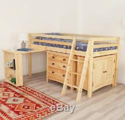 Kids Mid Sleeper Cabin Bed With Desk & Storage Chest Of Drawers Solid Pine Wood