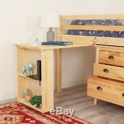 Kids Mid Sleeper Cabin Bed With Desk & Storage Chest Of ...