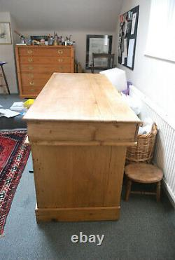 Large antique pine kneehole desk table 10 multi drawer chest