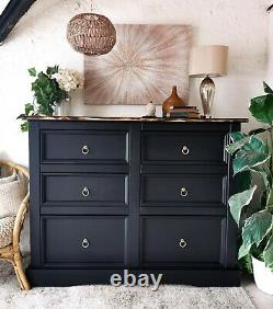 Large black pine Industrial style sideboard / merchants chest of drawers