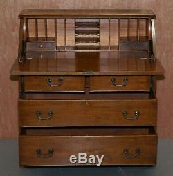 Lovely Circa 1900 Solid Walnut Writing Bureau Chest Of Drawers With Desk Top