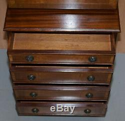 Mahogany Bevan Funell Desk Bureau Chest Of Drawers Drop Front Green Leather