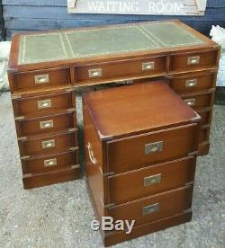 Mahogany Military Desk & Matching Small Chest Of Drawers