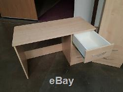 Maple desk with 3 Draws and cupboard with 2 draws and chest of drawers 3 draws