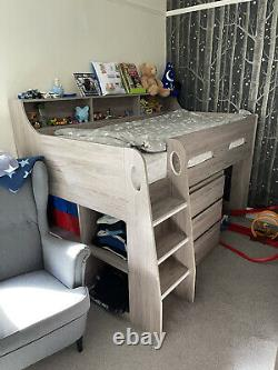 Mid Sleeper Cabin Bed With Chest Of Drawers And Pull Put Desk