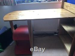 Mid Sleeper Wooden/pine Cabin Bed With Desk and Chest Of Drawers