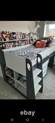 Mid sleeper bed with desk, Chest Of Drawers And Matress